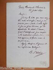 ✒ L.A.S. Jules BARTHELEMY SAINT HILAIRE philosophe homme politique - 1891