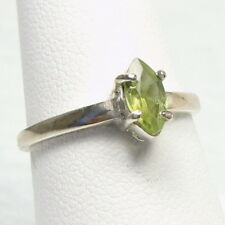 Appealing Genuine Green Tourmaline Solitaire Silver Ring Size 7.0      TOUR20