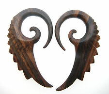 """1/2 Inch Long Feather Talons Plugs Spirals Pair Of Ornate Sono Wood 2g (6Mm) 2"""""""