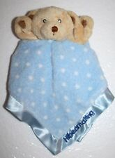 Russ Cubbles TEDDY BEAR HIBEARNATING Blue Boy Polka Dot Soft Security Blanket 12