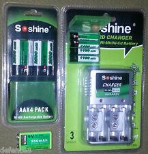 Set Soshine Batterie 4 x AA - 4 x AAA - 1 x 9.0 V. + Caricabatterie Multicharger