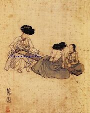 "Korean Art, A woman tuning a string instrument, Matted, 신윤복 8""x10""  syb5"