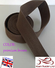 """Premium Brown color 50mm 2"""" CANVAS Rainforce cotton Webbing tape Bag strapx1Yard"""