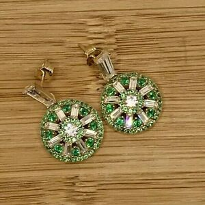 925 Sterling Silver Emerald & White Cubic Zirconia Round Woman's Earrings