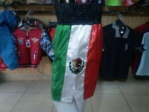 USA/MEXICO Flags Black Elastic Belt Boxing Shorts Trunks Boxing Training Fitness