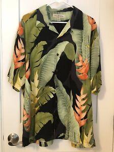 Tommy Bahama Mens L 100% Silk Floral Palm Hawaiian Print Shirt Button Front