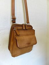 Vintage Fossil Cross Body Bag Brown Leather Organizer Hipster Handbag