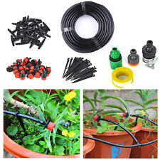 25m Micro Drip Irrigation System Plant Self Watering Garden Hose Kits Us Stock