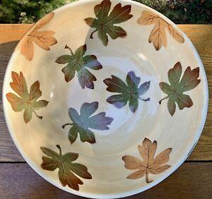 "Pottery Barn Fall HARVEST Large 12"" Serving Bowl 🍁 Autumn Leaves ~EUC"