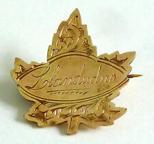 VICTORIAN ROLLED GOLD SOUVENIR LEAF BROOCH WITH LLANDUDNO ENGRAVED ON THE FRONT