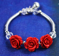 Vintage style antique silver tone red lacquer rose elastic bracelet