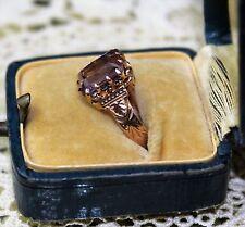 Antique 14k Rose Gold Emerald Cut Amethyst 2.7 grams Size 5