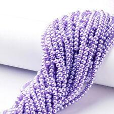 Strand 215+ 4mm Lavender Glass Pearl Plain Round Beads UK