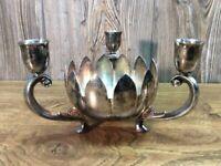 Vintage Leonard Silver Plate Triple Cup Candle Holder Lotus Petal Flower Bowl H4