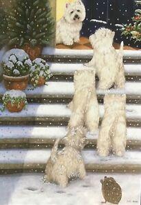 CHARITY CHRISTMAS CARD 'WESTIE WELCOME' - DOGS & HEDGEHOG - SNOW - SINGLE CARD