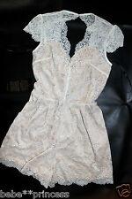 NWT bebe cream white overlay lace nude cutout back top dress romper XS 2 club