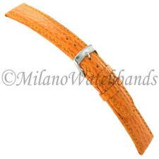 20mm Milano Orange Genuine Shark Skin Grain Leather Mens Watch Band Regular #836