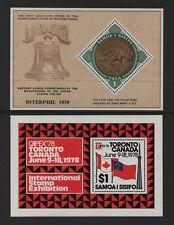 "SAMOA 1976 ""INTERPHIL"" & 1978 ""CAPEX"" M/SHEETS *MNH*"
