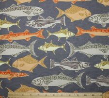SNUGGLE FLANNEL *VARIETY OF FISH / Fishing on GRAY 100% Cotton *NEW*  BTY
