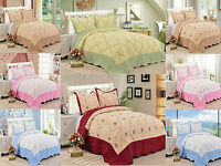 3 Piece Quilt Set Embroidered Hypoallergenic Quilted Bedspread