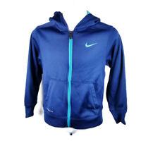 Nike Therma Fit Boys Sz S Blue Long Sleeve Full Zip Hoodie Hooded Sweatshirt