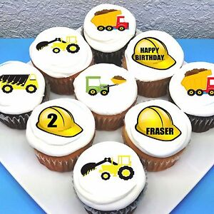 """Construction Zone Pre-cut 2"""" Edible Icing Cupcake Toppers - Sheet of 15"""