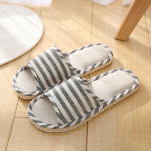 Women Men Indoor Slippers Anti-slip Linen Summer Open Toe Home Flat Slippers Lot
