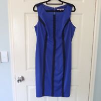 Review dress size 12 blue aline cocktail party black lace detail corporate