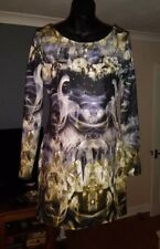 RIVER ISLAND WOMENS SEQUINED LONG SLEEVE BODYCON PARTY DRESS ~ UK 12 EURO 38