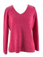 Eileen Fisher Women's Wool Pink V-Neck Long Sleeve Pullover Sweater Size Medium