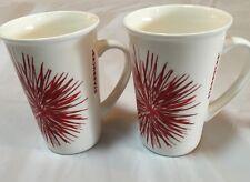 Starbucks Coffee 2014 Mug Red Starburst  Fireworks Burst Design Cup Set 2 Mugs