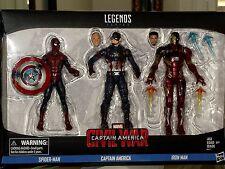 Marvel Legends Series Civil War Captain America,Spider-Man,Iron Man 3-Pack Set