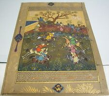 A FINE ANTIQUE  PERSIAN COLOURED PAINTING ON MANUSCRIPT ILLUMINATED PAGE