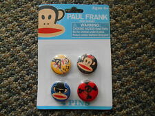 Paul Frank 4 Pins Buttons Monkey Guitar Blue Brothers Sunglasses Hat Skull Bones