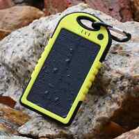 5000mAh Solar Power Bank Dual USB Waterproof Portable Charger for smartphones