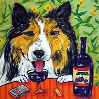 shetland sheepdog sheltie wine dog art tile coaster gift artwork