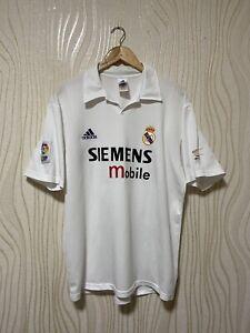 REAL MADRID 2001 2002 HOME FOOTBALL SHIRT SOCCER JERSEY CENTENARY ADIDAS sz L