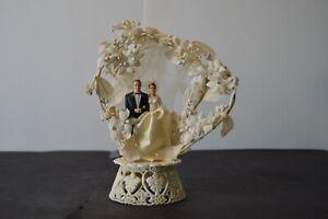 Vintage Wedding Cake Topper Trellis Flowers Bride Groom MCM 1959 Base 1963 Pair