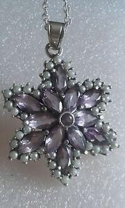 Amethyst & freshwater pearl large silver 925 flower design pendant / chain