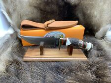 """Marbles 11""""  Fixed Blade Large Hunter Knife With Stag Handles Mint In Box MR803"""