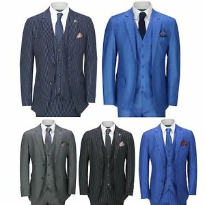 Mens Classic 3 Piece Pin Stripe Suit Retro 1920s Peaky Blinders Tailored Fit