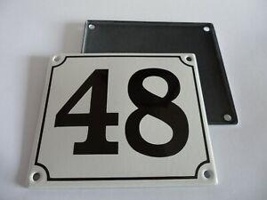 Old German White Enamel Porcelain Metal House Door Number Street Sign / Plate 48