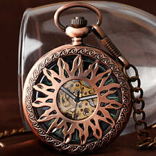 Mens Skeleton Pocket Watch Mechanical Red Copper Luminous Fob Watch Retro Chain