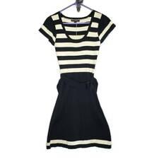 Betsey Johnson Womens Sweater Dress Black Striped Short Sleeve Belt Cotton M New