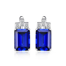 Emerald Cut Created Blue Sapphire Luxury Earrings Sterling Silver