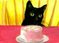 BCB Black Cat Happy Birthday Cake Print of Painting ACEO 2.5 x 3.5 Inches