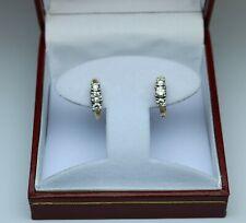 1cttw diamond 3 stone huggie earrings H-J SI2 14kt 2tone gold OUTSTANDING BEAUTY