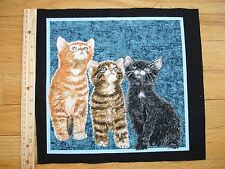 """Counting Three Kittens Tabby Blue Eyes  Cotton Quilt Fabric Block 10"""" x 10 1/2"""""""