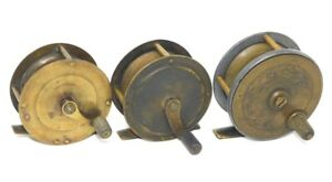 3 Vintage Brass Fly Reels Made in England