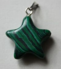 Natural Stone, Star Shaped Malachite Pendant 23mm by 21mm. (C).